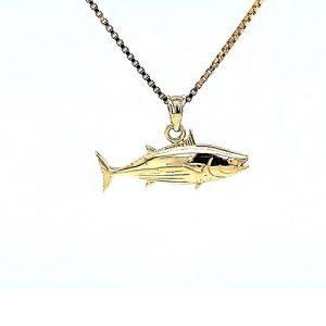 14K Yellow Gold 26mm Fish Pendant