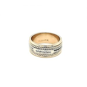 14K Yellow & White Gold Two Tone 6 Diamond Channel Centre Mixed Color Twisted Wire 8.75mm Band