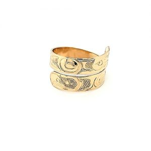 14K Yellow Gold Fine Carved Hummingbird & Eagle Wrap Around Ring