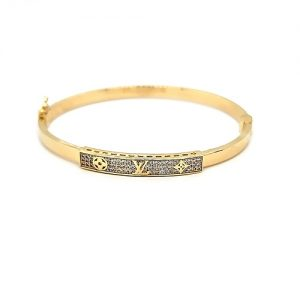 18K Hollow Yellow Gold Louis Vuitton Style w/ CZ's Hinged Bangle