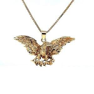 10K Yellow Gold 49mm Diamond Cut Eagle Pendant