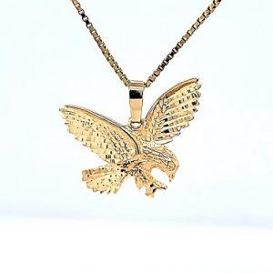 10K Yellow Gold 21mm Diamond Cut Eagle Pendant