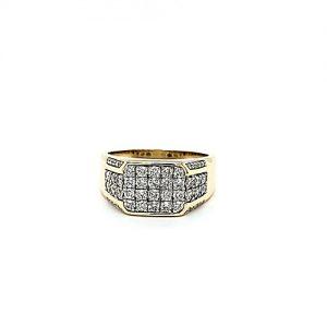 10K Yellow Gold Pave Set Diamond Signet Style Ring