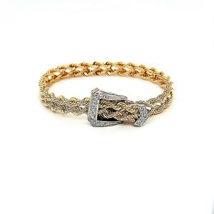 14K Yellow Gold Double Rope Link Adjustable Bracelet w/ Diamond White Gold Buckle Clasp