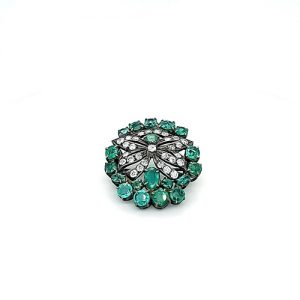 Antique .925 Sterling Silver & 10K Yellow Gold Brooch w/ 19 Bright Emeralds & 29 Mixed Cut Diamonds