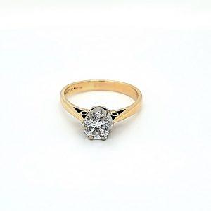 Vintage 14K Yellow Gold & Platinum .91CT Diamond Solitaire Engagement Ring