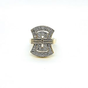 """18K Yellow Gold Deco Style """"Hour Glass"""" 32 Pave Set Diamond Ring"""