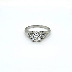 Platinum 1.07CT Diamond Centre & 2 Side Diamonds Engagement Ring