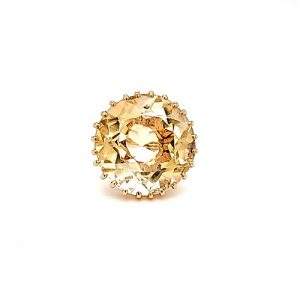 18K Yellow Gold 32CT Round Citrine Solitaire Ring
