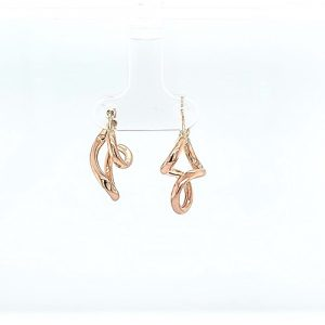 Pair of 10K Rose Gold 20mm Stylized Hollow Swirly Style Earrings