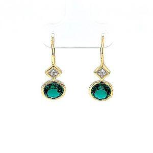 14K Yellow Gold Emerald & Princess Cut Diamond Leverback Earrings