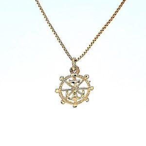 10K Yellow Gold21mm Diamond Cut Ships Wheel & Anchor Pendant