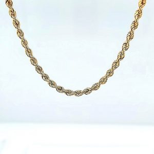 10K Yellow Gold 25″ Solid Rope Link Chain