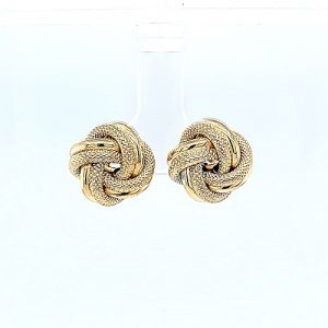 Pair of 10K Yellow Gold 13.5mm Hollow Textured Love Knot Stud Earrings