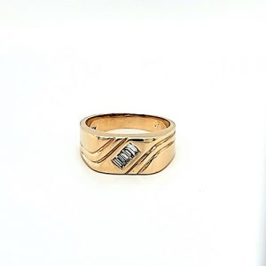 10K Yellow Gold 3 Channel Set Baguette Diamond Signet Style Ring