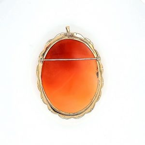 14K Yellow Gold 55mm Fine Carved Oval Cameo Brooch/Pendant