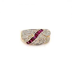14K Yellow Gold 11 Baguette Cut Ruby & 77 Diamond Dinner Ring