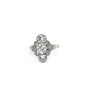 Palladium 10 Old European Cut Diamond Ring 2.41TDW