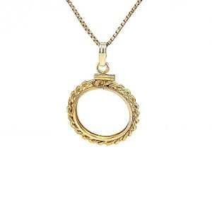 14K Yellow Gold Rope Link Pattern Coin Bezel Pendant