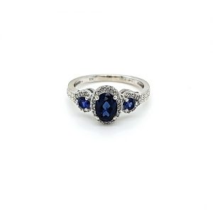 10K White Gold 3 Oval Created Blue Sapphire Diamond Accent Halo Ring