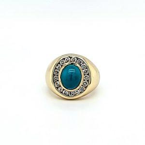 14K Yellow Gold 2.02CT Cabochon Turquoise Centre & 17 RBC Diamond Halo Signet Ring