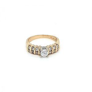 14K Yellow Gold .25CT Round Brilliant Cut Diamond Centre & 12 RBC Diamond Engagement Ring