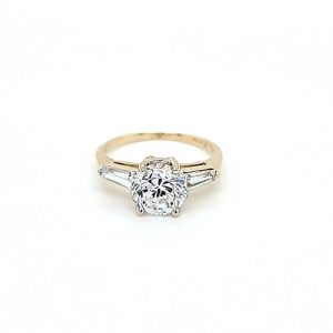 10K Yellow Gold 8mm Round CZ & 2 Tapered Baguette Cut CZ Ring