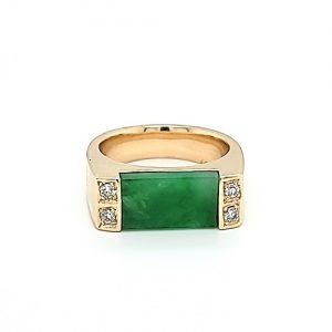 14K Yellow Gold 1.43CT Rectangular Jadeite Centre & 4 Diamond Ring