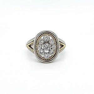 14K White & Yellow Gold Oval Shaped Split Shoulder 9 RBC Diamond Ring