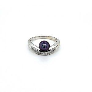 14K White Gold 6.5mm Cultured Black Pearl & 8 Diamond Ring