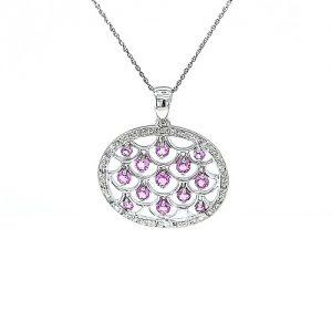 14K White Gold 13 Pink Sapphire & Diamond Accent Circular Pendant