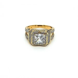 14K Yellow Gold Multi-Cut CZ Engagement Style Ring