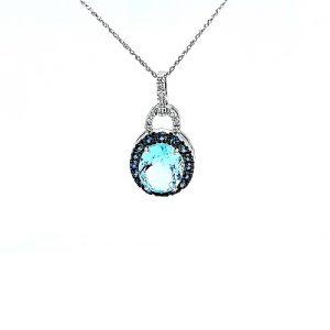 10K White Gold Blue Topaz, Blue Sapphire Halo & Diamond Accent Dangle Pendant