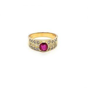 14K Yellow Gold 5mm Ruby & 16 Diamond Filigree Ring