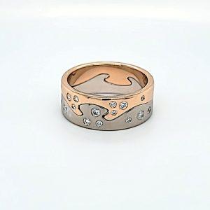 Designer Georg Jensen Fusion 16 Diamond 18K White & Rose Gold Two Piece Bands
