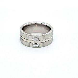 18K White Gold 2 Baguette Cut Diamond 9mm Comfort Fit Band