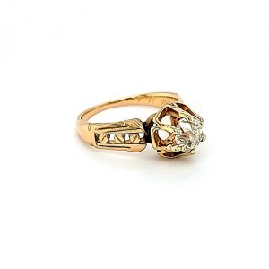 18K Yellow Gold .80CT Old Mine Cut Diamond Solitaire Engagement Ring
