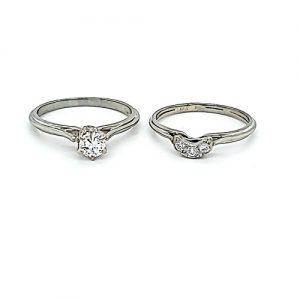 18K White Gold 4 Diamond Wedding Set