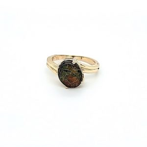 10K Yellow Gold Oval Ammolite Solitaire Offset Ring