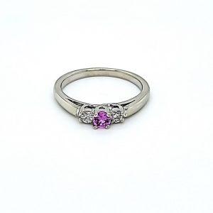 14K White Gold 3mm Round Pink Sapphire & 2 Diamond Ring