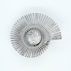 Vintage Western Germany Silver Tone Wire & Button Scarf Clip