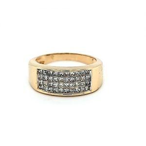 14K Yellow Gold 40 Square Cut Diamond Channel Set Ring