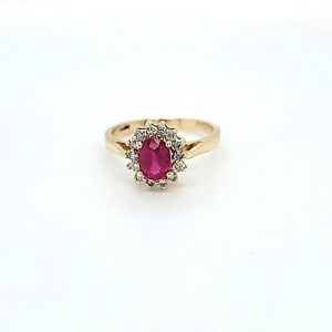 14K Yellow Gold 1.04CT Oval Ruby Centre & 14 Diamond Cluster Ring