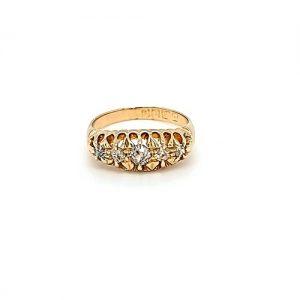 Antique 18K Yellow Gold 5 Old Mine Cut Diamond Ring