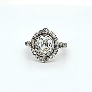 14K White Gold 2.71CT Old Mine Cut Diamond Centre/ Diamond Halo Engagement Ring