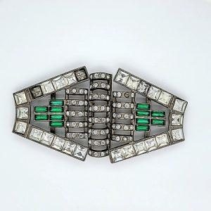 Art Deco/Vintage Style Belt Decoration w/ Multi Cut Rhinestones