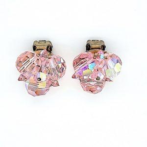 Pair of Vintage Sherman Pink Aurora Rhinestone Clip-On Earrings